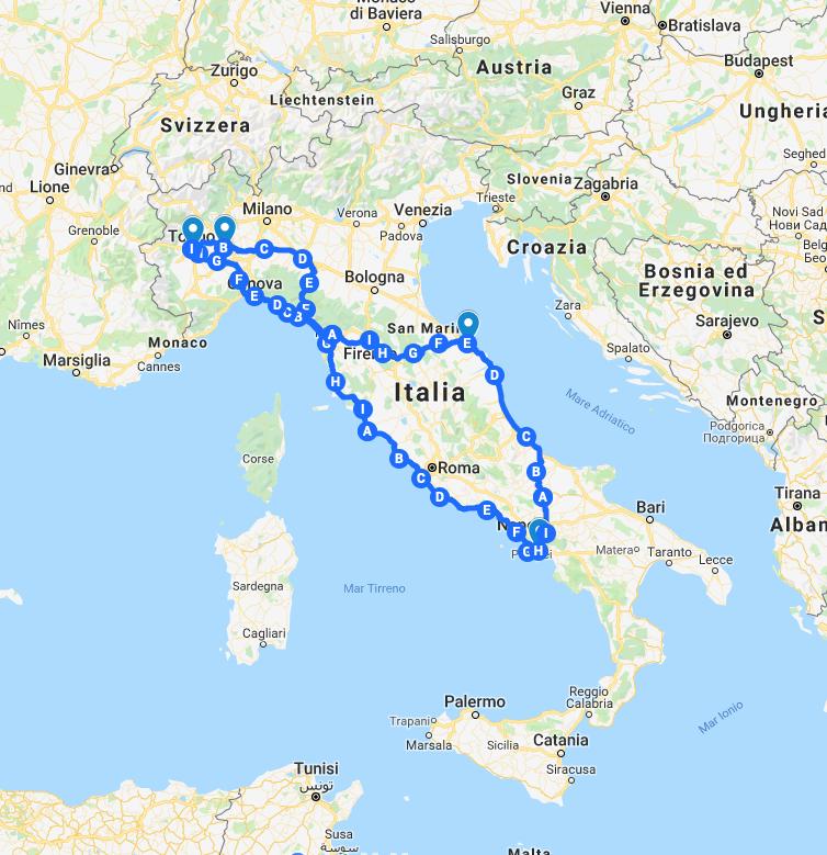 Il percorso della Route dei Ricordi | Pellegrinaggio in bicicletta in Italia